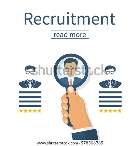 Recruitment concept. Human resources. Businessman employer search resume staff selects candidates. Vector illustration flat design. Isolated on white background. Head holding a magnifying glass.