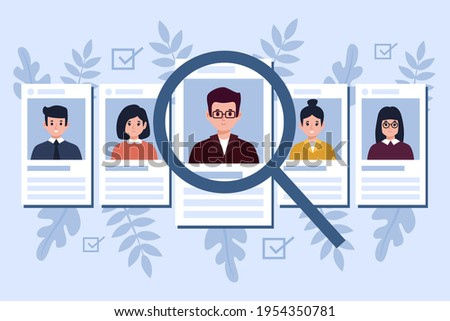 Recruitment concept. Search, choice of worker for company. Check professional experience candidate job vacancy. Personnel work. Headhunter employer. Hire or select employee. Vector illustration.  Stock photo ©
