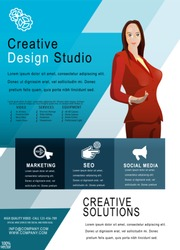 Recruitment design poster or Banner template. 2019 Job or hire Vacancy Advertisement. Concept of flyer on a blue background with woman silhouette. Infographic design. Hiring poster template design.