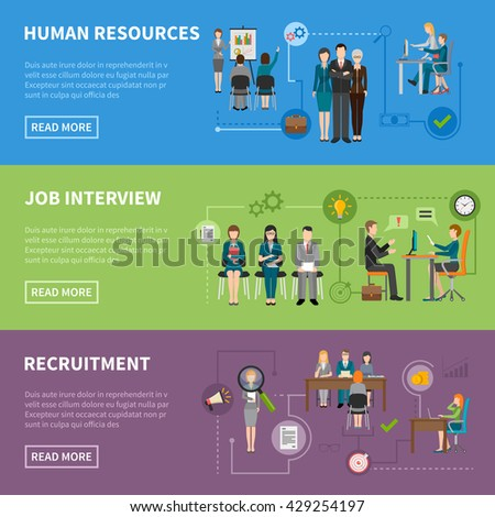 Recruitment HR people discussing projects  interviewing and searching for applicants horizontal flat banners vector illustration