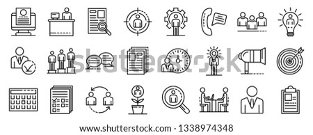 Recruitment icons set. Outline set of recruitment vector icons for web design isolated on white background Foto stock ©
