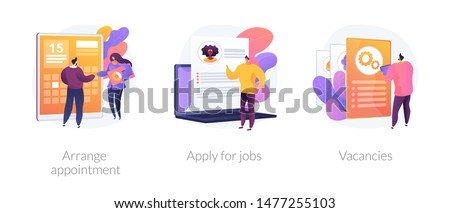 Recruitment interview. Work position sourcing. Employment website. Business recruiting. Arrange appointment, apply for jobs, vacancies metaphors. Vector isolated concept metaphor illustrations