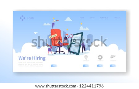 Recruitment, Job Interview Concept Landing Page. Vacancy Flat People Characters HR Managers Website Template. Easy Edit and Customize. Vector illustration