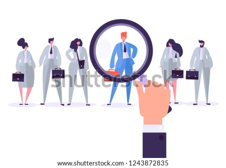 Recruitment management characters, best job candidate. Human resources searching for individuality. Hand holds a magnifier and selects individual person from group of people. Vector illustration