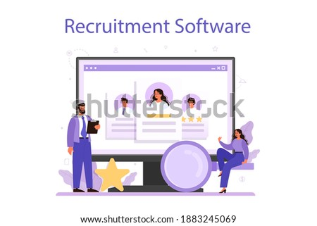 Recruitment online service or platform. Idea of employment and job interview. Recruitment manager searching. Online software. Vector illustration in cartoon style Сток-фото ©