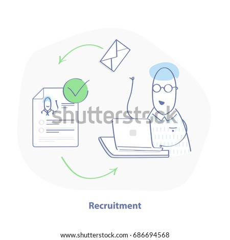 Recruitment process. HR sends letters to job candidates, whose resume is appropriate and receives a feedback. UI/UX element for web design, applications, mobile interface and infographics. Vector