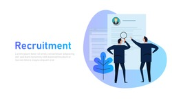 Recruitment process. selecting candidate by human resource. Business man select from printed CV, magnifying glass, flat style banner design of human resource management concept