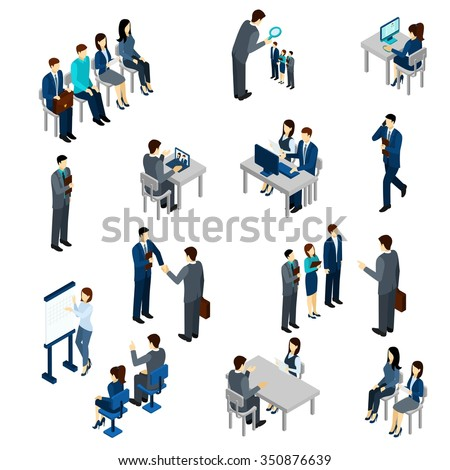 Recruitment process set with isometric business people employees isolated vector illustration