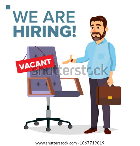 Recruitment Process Vector. Human Resources, Career. Businessman Choice Of Employee. Office Chair, Workplace. Vacancy Announcement. Commercial Recruiting, Hiring, HR. Isolated Illustration