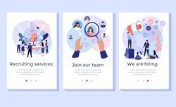Recruitment service concept illustration set, perfect for banner, mobile app, landing page