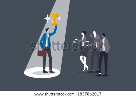 Recruitment talent choose best man for job, being recognized for hard work or value visibility on working skill, confidence winner businessman holding trophy cup with spotlight on with colleagues. Photo stock ©