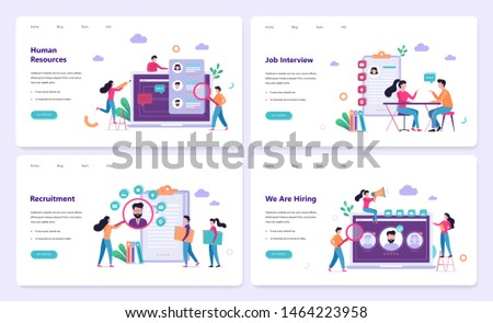 Recruitment web banner concept set. Job interview and human resources manager. Employment and labor. Search work in internet. Isolated vector illustration in flat style