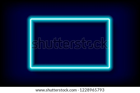 rectangle cyan neon tube frame with shadow,vector illustration.