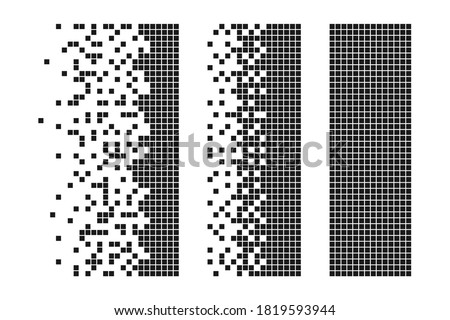 Rectangle disintegration into pixels or effect of combining many particles into one shape is a rectangle. Shapes disintegration or combining effect with many particles or pixels or squares. Vector.