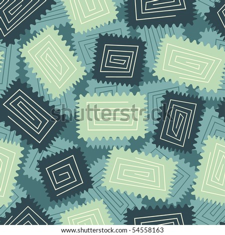 rectangle figures with spirals in abstract pattern