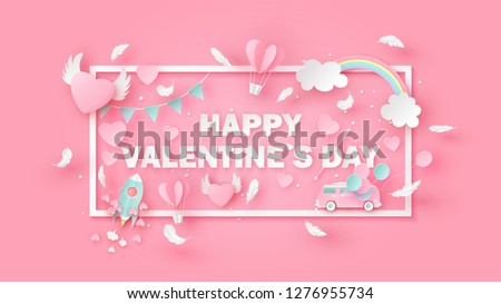 Rectangle frame of Valentine's day decorated with elements and text Happy Valentine's Day. Greeting card for Valentine's Day. paper cut and craft style. vector, illustration.