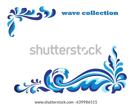Curly swirl vectors download free vector art stock graphics images rectangle frame with corner swirl ornaments blue wave pattern on white curly vector decoration stopboris Images
