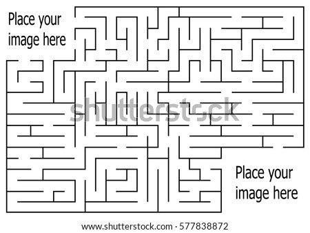 rectangle labyrinth with entry and exit.vector game maze puzzle with solution.Num.03