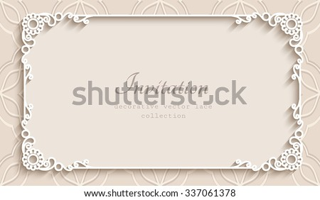 Free lace vector card download free vector art stock graphics rectangle lace frame with cutout paper decoration vector greeting card or wedding invitation template m4hsunfo