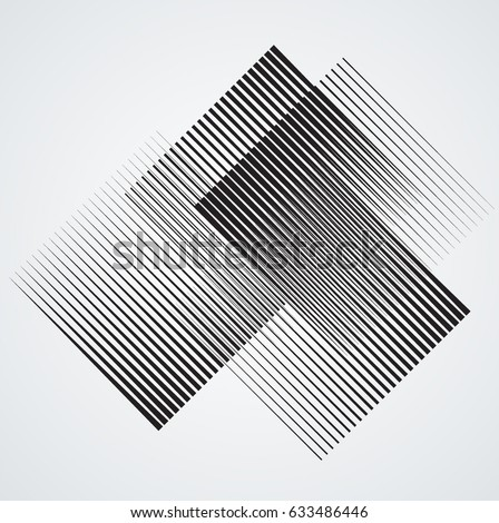 Rectangle Logo with lines.Square unusual icon Design .Black Vector stripes .Geometric shape.