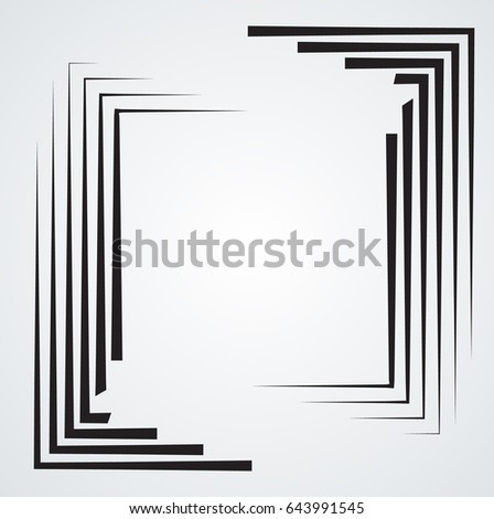 Rectangle Logo with lines.Square unusual icon Design .Black Vector stripes .Geometric shape. Photo border frame