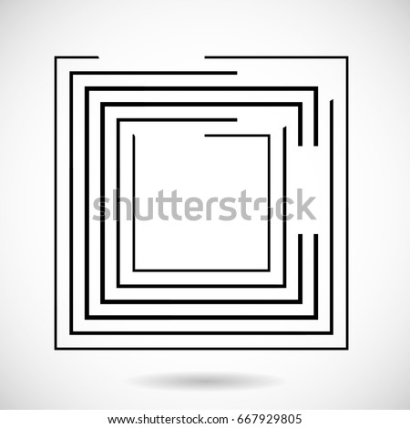 Rectangle Logo with lines.Square unusual icon Design .frame with Vector stripes .