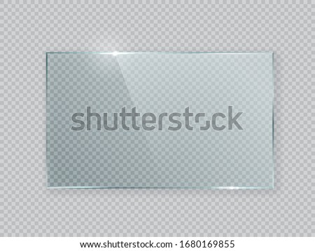 Rectangle vector glass frame. Isolated plate on transparent background. Realistic texture with glares and light