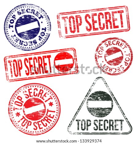 Rectangular and round top secret rubber stamp vectors