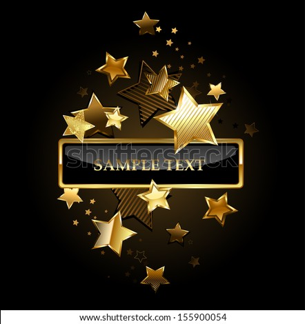 ... black banner with gold frame decorated with gold stars on a black