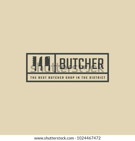 Rectangular black logo for meat store. Hipster line art logotype with knives