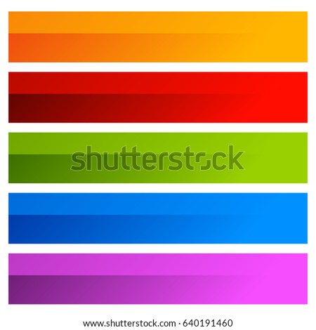 Rectangular buttons in several colors. Button tag, label shapes with blank space for text