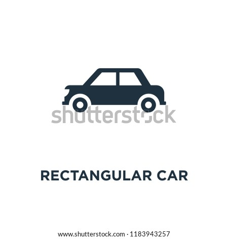 Rectangular Car icon. Black filled vector illustration. Rectangular Car symbol on white background. Can be used in web and mobile.