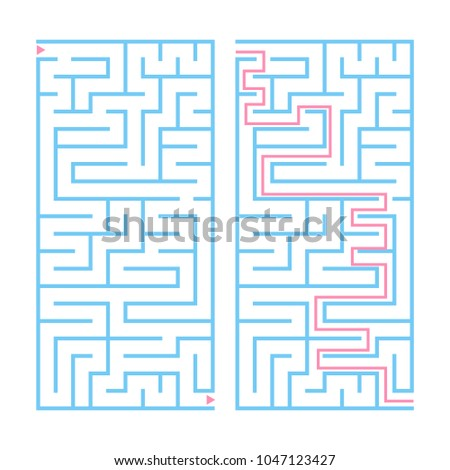Rectangular color labyrinth with the answer. An interesting game for children and teenagers. Simple flat vector illustration isolated on white background.