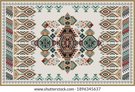 Rectangular design for carpet with geometric ethnic ornaments. Vector clipart. Design for mat, carpet, rug