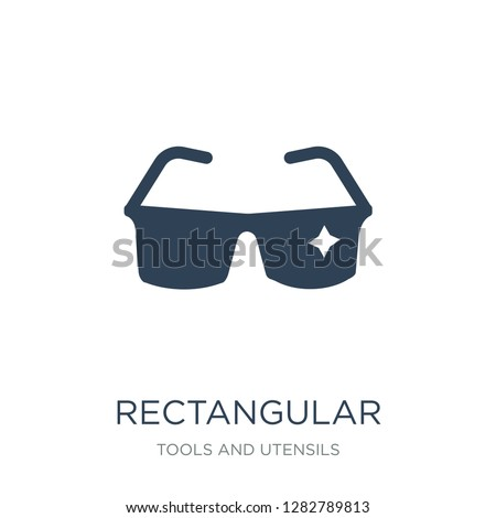rectangular eyeglasses icon vector on white background, rectangular eyeglasses trendy filled icons from Tools and utensils collection, rectangular eyeglasses vector illustration