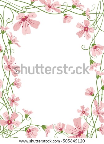 rectangular floral border frame template small pink gypsophila