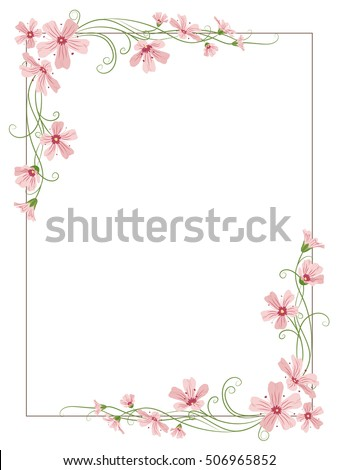 Rectangular floral border frame template with decorated corners. Gypsophila pink purple flowers tangled garland elements. Vector design illustration.