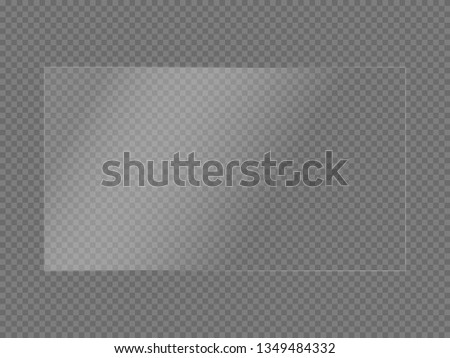 Rectangular glass plate. Light effect for a picture or a mirror. Beautiful realistic reflection. The interior of the house.