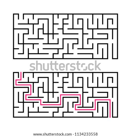Rectangular labyrinth with a black stroke. A game for children. Simple flat vector illustration isolated on white background. With the answer