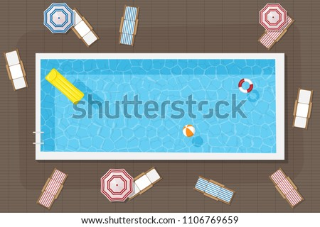 Rectangular pool with inflatable circle, mattress and ball, surrounded by sun loungers and umbrellas. Vector illustration.