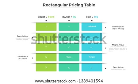 Rectangular pricing table with 3 versions of product and list of included features. Light, basic and pro subscription plans. Modern infographic design template. Flat vector illustration for website. ストックフォト ©