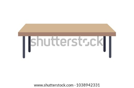 Rectangular shaped table, used to place at living rooms, long low table made of wooden material, vector illustration, isolated on white background