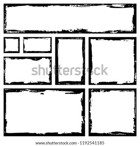 Rectangular vector frame. Grunge ink illustration. Creative backgrounds template for tags, labels, cards. Hand drawn frame brush strokes.