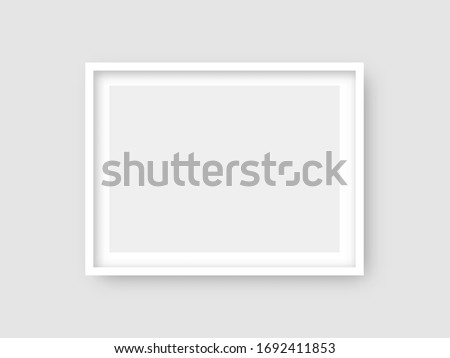 Rectangular wall picture ot photo frame mockup isolated on light background. Banner or poster template, decorative design element. Realistic vector illustration.
