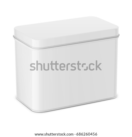 Rectangular white glossy tin can. Container for dry products - tea, coffee, sugar, candy, spice. Realistic packaging mockup template. Vector illustration.