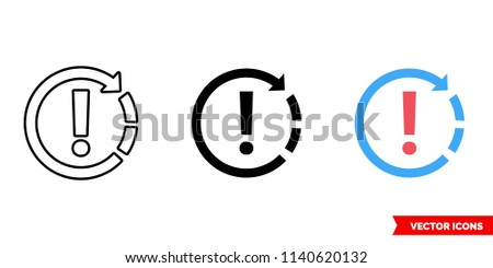 Recurring appointment exception icon of 3 types: color, black and white, outline. Isolated vector sign symbol.