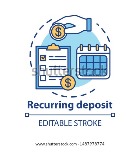Recurring deposit concept icon. Savings idea thin line illustration. Creating investment account. Regular payments, timed banking charges. Vector isolated outline drawing. Editable stroke