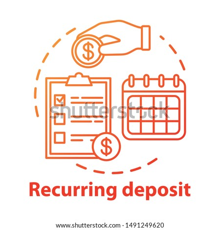 Recurring deposit concept icon. Savings idea thin line illustration. Creating investment account. Regular payments, timed banking charges. Vector isolated outline drawing