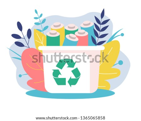 Recyclable battery container. Recycling of batteries. Background of flowers and leaves. Recyclable icon. Ecological concept. Flat Vector Illustration