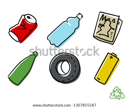 Recyclable Materials. Vector illustration